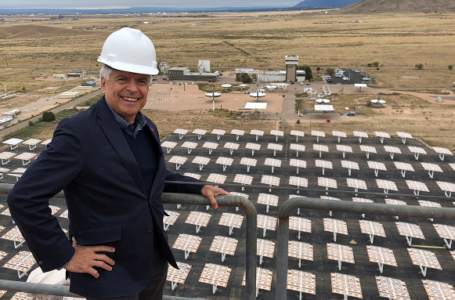 New Mexico State University Chancellor Dan Arvizu visited a solar energy facility at Sandia National Labs. Arvizu will address the Clean Energy Economy Town Hall, Aug. 5. | Photo courtesy NMSU